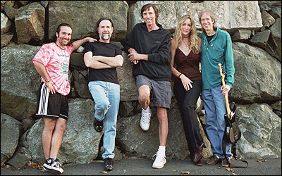 Boston band members Jeff Neal, Brad Delp, Tom Scholz, Kimberley Dahme, and Gary Pihl are pictured the last time they played together. Delp killed himself on March 9.