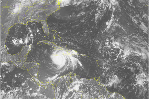 This NOAA satellite image taken Sunday at 1:45 p.m. shows Hurricane Dean bearing down on Jamaica with winds of 145 mph.