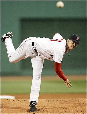 Buchholz delivers in the first inning.