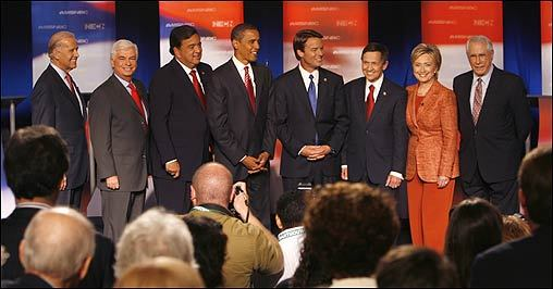 With the primary season approaching, the eight Democratic presidential candidates gathered for a debate at Dartmouth College in Hanover, N.H., Wednesday night. From left: Joseph Biden, Chris Dodd, Bill Richardson, Barack Obama, John Edwards, Dennis Kucinich, Hillary Clinton, and Mike Gravel.