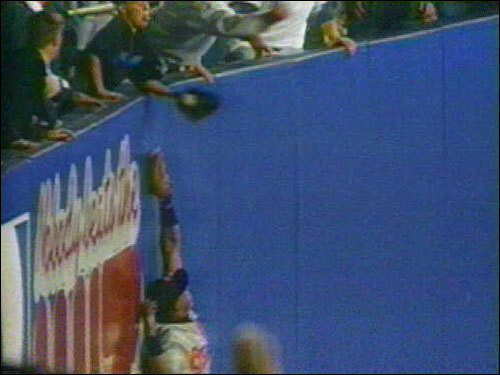 On Oct. 9, 1996, 12-year-old Jeff Maier made a name for himself when he reached over the right-field fence at Yankee Stadium to catch a ball hit by Derek Jeter as Baltimore Orioles' right fielder Tony Tarasco tried to make the catch during Game 1 of the ALCS. The hit was ruled a home run which allowed the Yankees to tie the score. New York would go on to win the game and the series, much to the chagrin of Orioles fans.