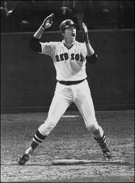 Carlton Fisk waving arms after homerun