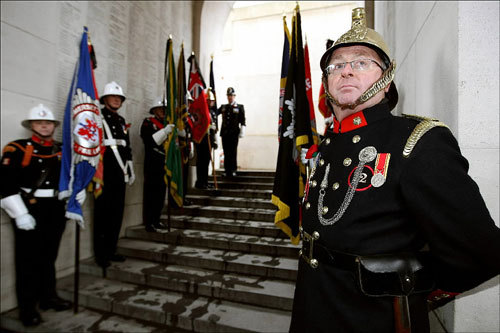 Belgian and British World War II veterans attended a ceremony on Armistice Day at the Menin gate in Leper, Belgium, on Sunday. Belgium held somber ceremonies on Saturday and Sunday, with King Albert laying a wreath at the nation's tomb of the unknown soldier.
