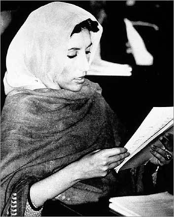 Bhutto was sworn in as a newly elected member of the Pakistan national assembly in Islamabad in November 1988.