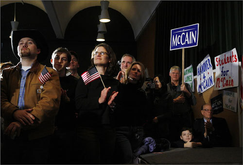 Residents and supporters of John McCain listened as he spoke during a rally at Dartmouth College.