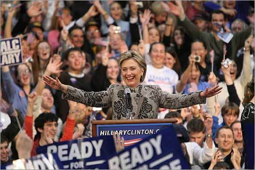 Democratic presidential hopeful Hillary Clinton celebrated her victory in the New Hampshire primary.