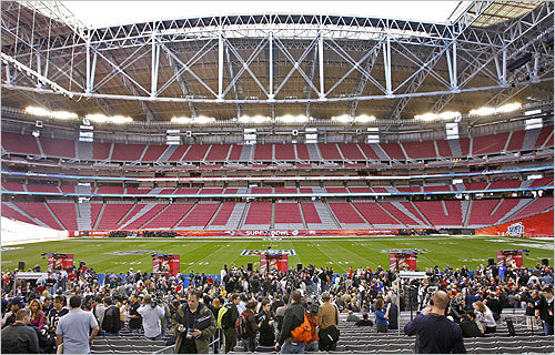 The field at University of Phoenix Stadium was the venue for Tuesday's Super Bowl Media Day.