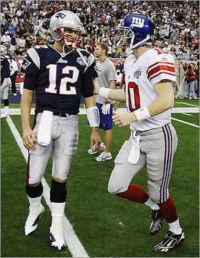 Tom Brady and Eli Manning met on the field during warmups.