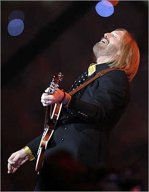 Tom Petty and the Heartbreakers performed during halftime at Super Bowl XLII at the University of Phoenix stadium.