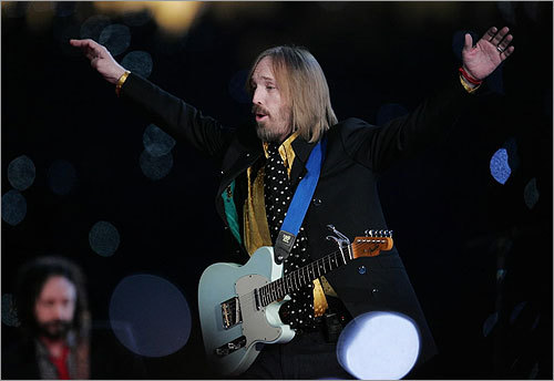 During his halftime performance, Tom Petty waved to the crowd on the field.