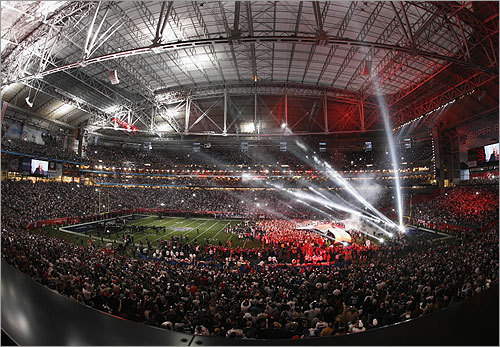 The view of the University of Phoenix Stadium during the halftime show.