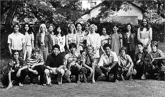 Barack Obama (fourth from right, front row) with his ninth-grade class at Punahou School in Honolulu in 1976.