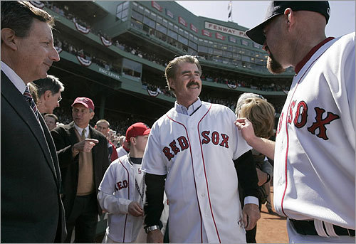 Former first baseman Bill Buckner (center) was greeted by current Sox first baseman Kevin Youkilis (right), and Tom Werner.
