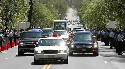 The pope was heavily protected as he rode in a motorcade along Massachusetts Avenue.