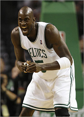 Kevin Garnett celebrated during the first half.
