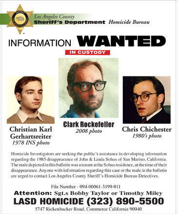 In July 2009, 'Clark Rockefeller,' whose real name is Christian Karl Gerhartsreiter, was convicted of kidnapping his daughter Reigh in 2008 during a supervised visit to Boston. Rockefeller's lawyer said in 2008 his client admitted to using the alias Christopher Chichester while living in California. He is charged with the 1985 murder of John Sohus of San Marino, Calif. Authorities said 'Chichester' was a tenant of Sohus's parents. Gerhartsreiter came to the United States from Germany as a teenager.