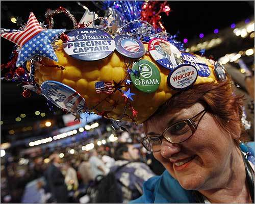 Many attendees at the Democratic National Convention took great pride in their choice of headwear, many of which celebrate the delegate's home state. Here, Nany Bobo, a delegate from Des Moines, Iowa, smiled beneath her corn hat.