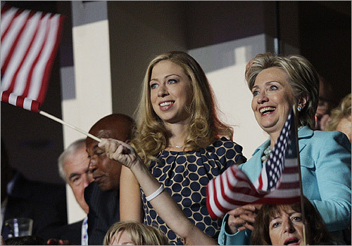 Sen. Hillary Rodham Clinton, D-N.Y., right, and her daughter, Chelsea, waited for former President Bill Clinton to speak.