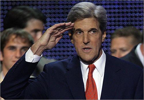 Sen. John Kerry, D-Mass., saluted after his speech.