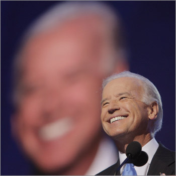 Democratic vice presidential candidate Sen. Joe Biden, D-Del., was all smiles as he took the stage.