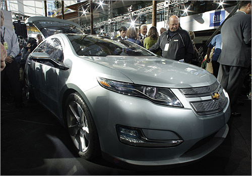 General Motors displayed the production Chevrolet Volt at a packed media event in Detroit, timed for the automotive giant's 100th anniversary. While still two years away, the Volt has stirred up the automotive industry with its claimed 40-mile range of all-electric, zero-emissions driving. Pricing and other detailed specifications remain to be announced, but be prepared for a firestorm from Toyota, Honda and the other domestics as plug-in hybrids come full swing into the next decade. - Clifford Atiyeh, Boston.com Staff