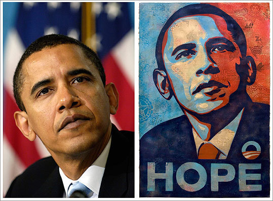 Artist Shepard Fairey based his Barack Obama poster (right) on a 2006 photograph taken for the Associated Press by Manny Garcia.
