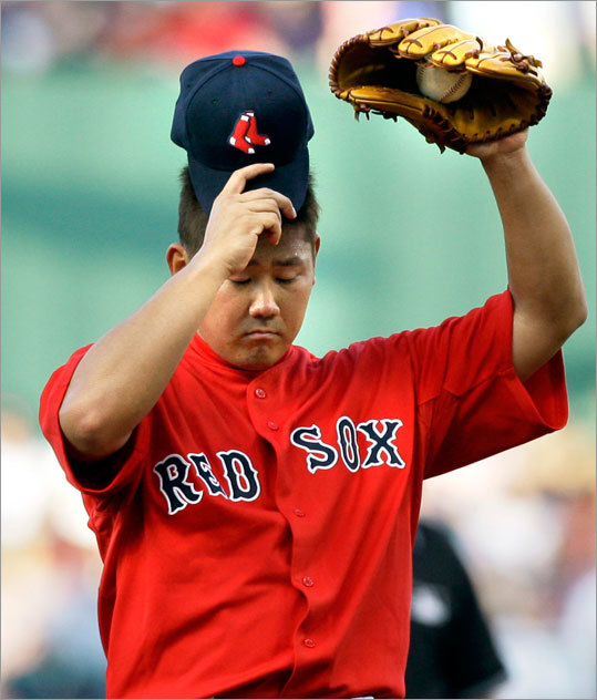 Sox starter Daisuke Matsuzaka reacted after loading the bases during the first inning.