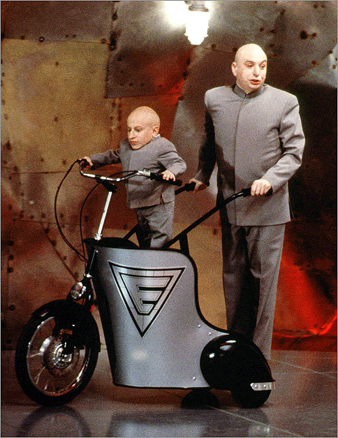 When it comes to Dr. Evil (Mike Myers) and his sidekick, Mini-Me (Verne Troyer), two's company. And callous as he may be, Dr. Evil wouldn't trade Mini-Me away for 1 million dollars ! The formidable pair in action in 'Austin Powers --The Spy Who Shagged Me.'