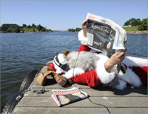 A Finnish Santa Claus listened to music as he read newspapers announcing Jackson's death in Helsinki on June 26. Jackson reportedly died of cardiac arrest. He was rushed to the hospital shortly after 12:30 p.m. Attempting to revive Jackson, paramedics performed CPR for over an hour.