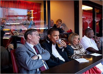 Obama enjoys a Budweiser next to MLB Commissioner Bud Selig (left) at the All-Star Game