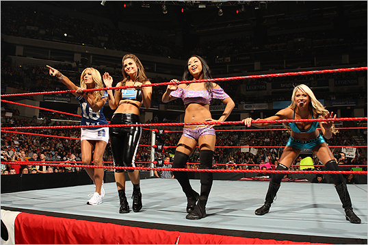 Nancy O'Dell, WWE Diva Gail Kim, Maria Menounos, and Diva Kelly Kelly celebrated after a huge win in the special Divas tag team match.