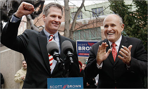 Brown was joined by former New York City Mayor Rudy Giuliani during a campaign rally Jan. 15 in the North End.