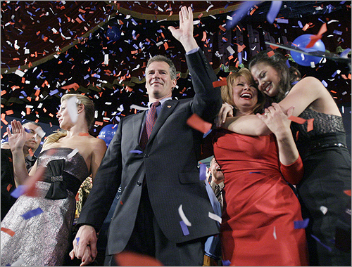 Brown celebrated his victory on election night with his youngest daughter Arianna, left, his wife, WCVB NewsCenter 5 reporter Gail Huff, and his daughter Ayla, right.