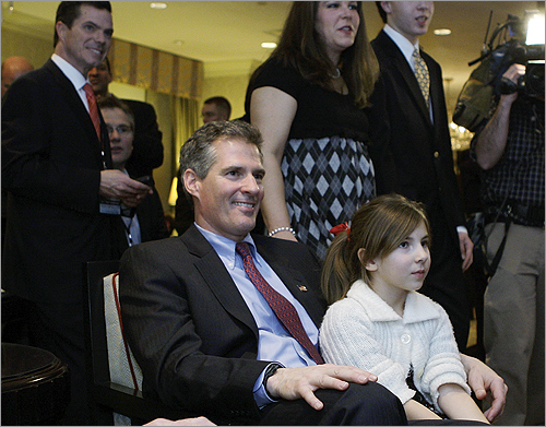 Scott Brown watched election night returns with his family and supporters at his election night headquarters in Boston.