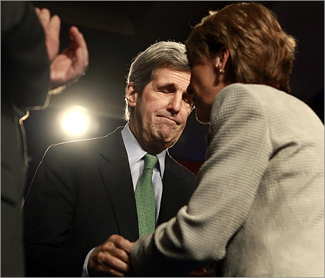 Senator John Kerry reacted as Martha Coakley conceded the election.