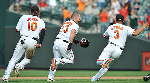 It looked like the Penn Relays at Camden Yards ss the Orioles celebrated the three-game sweep following Ty Wiggington's winning hit.