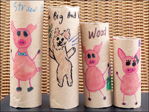 These hand-made cardboard tube nesting dolls were made by Grace Clarke,11, using instructions from 'Make These Toys,' by Heather Swain. Clarke chose the 'The Three Little Pigs' fairytale as inspiration for her nesting dolls.