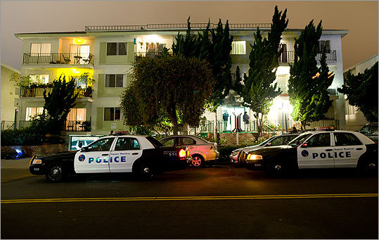 Police and FBI surrounded the apartment building in Santa Monica, California, where fugitive crime boss James 'Whitey' Bulger and his companion Catherine Greig were arrested.