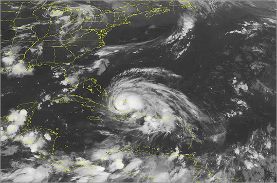 This National Oceanic and Atmospheric Administration satellite image of Hurricane Irene was taken at 1:45 a.m. on Aug. 24.