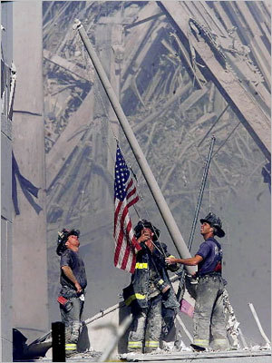 In what has become an enduring image of both national pride and the efforts and sacrifices of Sept. 11 emergency responders, firefighters raised an American flag at Ground Zero. The terrorist attacks prompted an outpouring of nationalist sentiment.