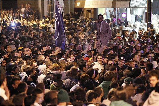 Crowds of students gathered off campus in State College, Pa., on Wednesday night.