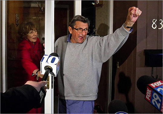 As Paterno and his wife stood outside, students yelled, 'We Are Penn State.' Paterno responded, 'Yes we are!'