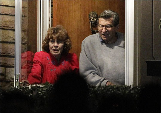 Paterno and his wife, Susan, stood at the doorway of their home to thank supporters gathered outside.