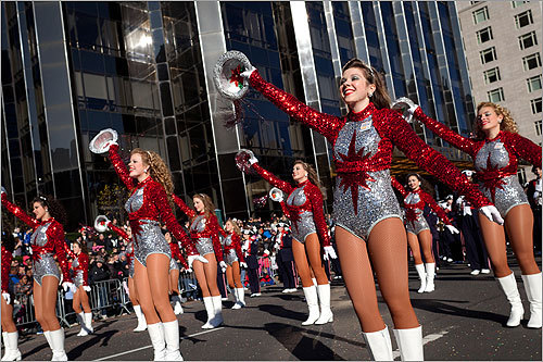 Cheerleaders from the Homewood High School Patriot Band in Alabama marched at the parade.