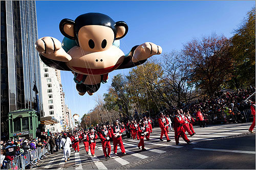 A balloon of cartoonist Paul Frank's Julius, a jetpack-wearing monkey, was one of two new balloons that made their first appearances at this year's parade.