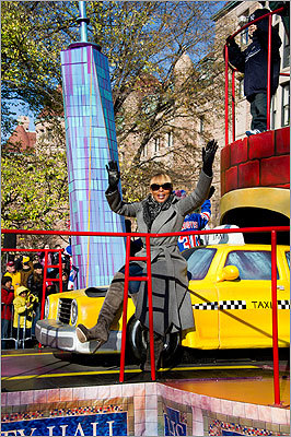 Mary J. Blige rode a float in the parade.