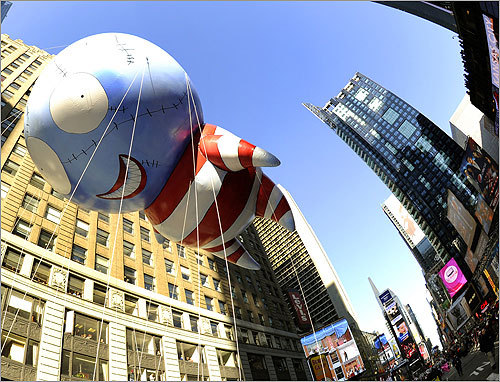 The other large balloon debuting at the parade, 'B,' was designed by film director Tim Burton,