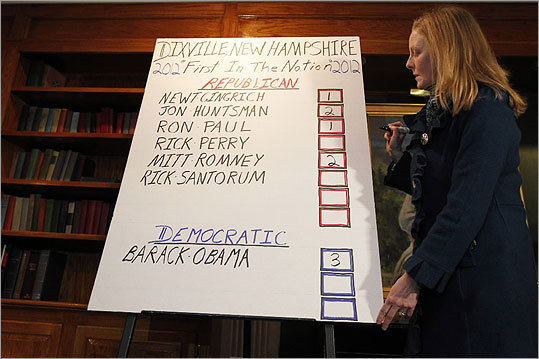 Early Tuesday morning, Donna Kaye Erwin looked at the totals from Dixville Notch, an unincorporated village in northern New Hampshire just south of the Canadian border. The nine registered voters make up the town's entire population.