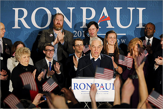 Ron Paul spoke to supporters at his primary party at the Executive Court Banquet Facility in Manchester, N.H., on Jan. 10.