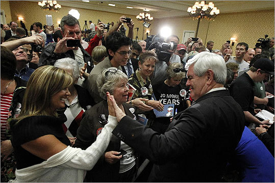 Newt Gingrich met with supporters during a campaign stop in Orlando, Fla., on Jan. 30.